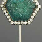 Brooch gold, emerald and diamonds